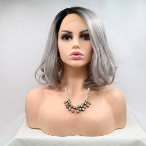 Парик каре серый блонд женский короткий волнистый на сетке с омбре из термоволос