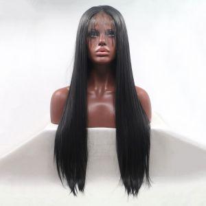 Парик черный женский реалистичный на сетке длинный прямой из термоволос