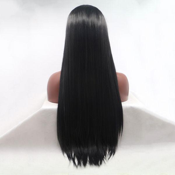 Реалистичный парик на сетке длинные прямые черные волосы