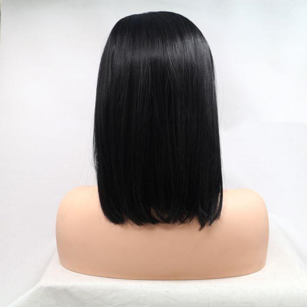 Реалистичный парик на сетке черное асиммeтричное каре