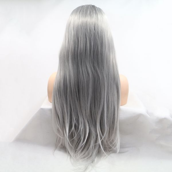 Длинное серое омбре парик на сетке с черными корнями