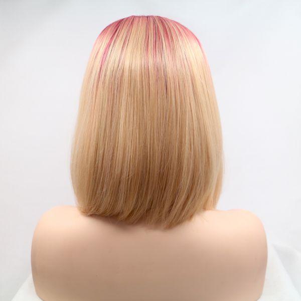 Короткое каре блонд омбре парик на сетке с черно-красными корнями