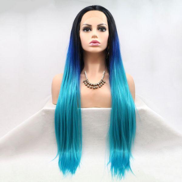 Длинный прямой реалистичный женский парик на сетке в цвете синий градиент с омбре