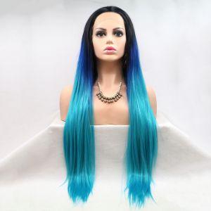 Реалистичный парик омбре на сетке голубые длинные волосы - СВЕЖИЕ ПОСТУПЛЕНИЯ!