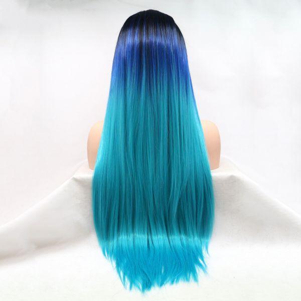 Реалистичный парик омбре на сетке голубые длинные волосы
