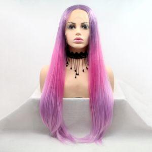 Парик розовый градиент женский длинный прямой на сетке из термоволос