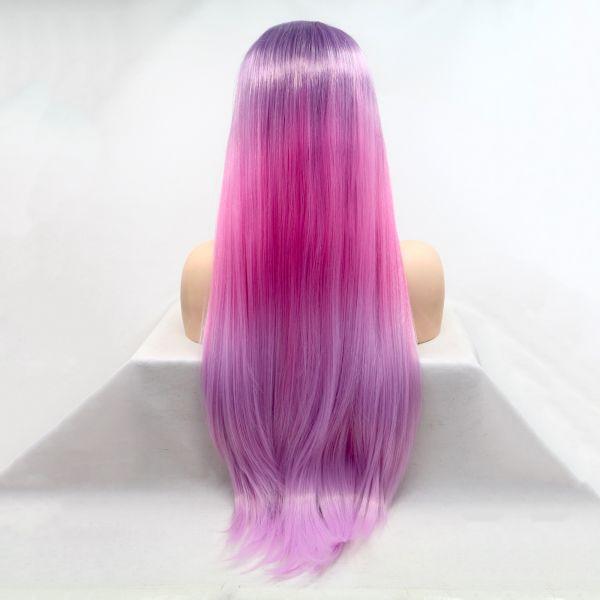 Реалистичный парик сиренево - розовое омбре длинные волосы