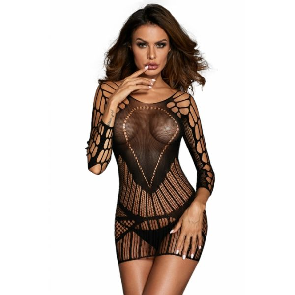 Sexy Seamless Mesh Hollow-out Chemise Lingerie