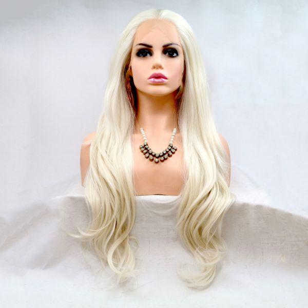 Реалистичный парик блонд на сетке длинные прямые волосы
