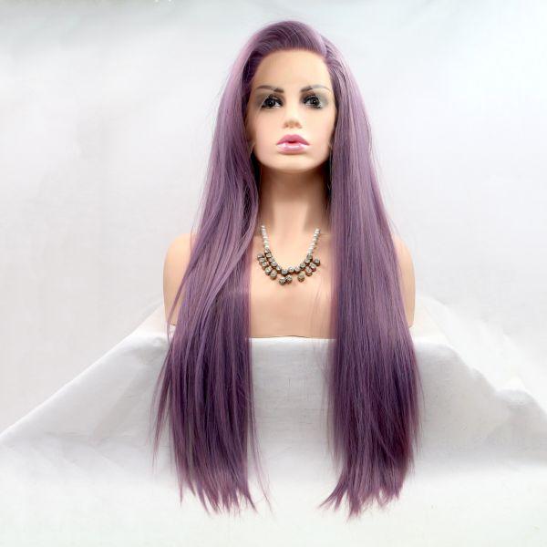 Длинный фиолетовый парик на сетке из термо волос