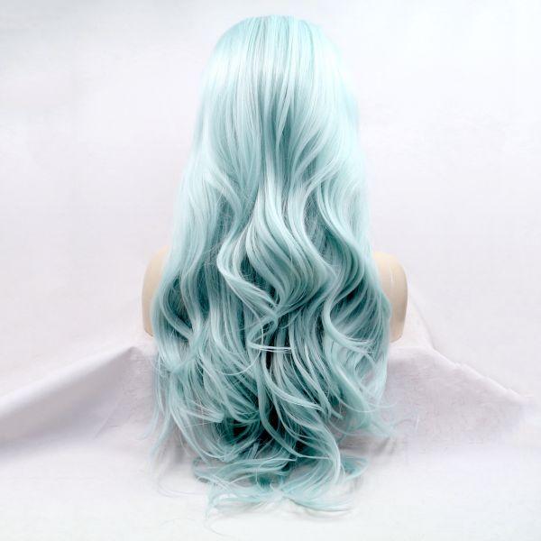Длинный волнистый голубой парик на сетке