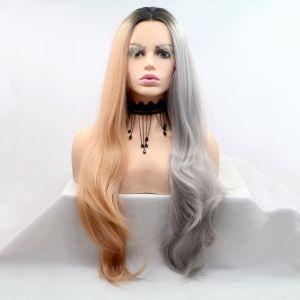 Длинный двухцветный серо-персиковый парик с черным омбре на сетке - СВЕЖИЕ ПОСТУПЛЕНИЯ!