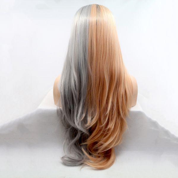 Длинный двухцветный серо-персиковый парик с черным омбре на сетке