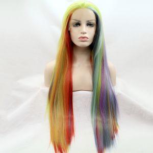 Длинный парик на сетке с прядями цвета радуги - СВЕЖИЕ ПОСТУПЛЕНИЯ!