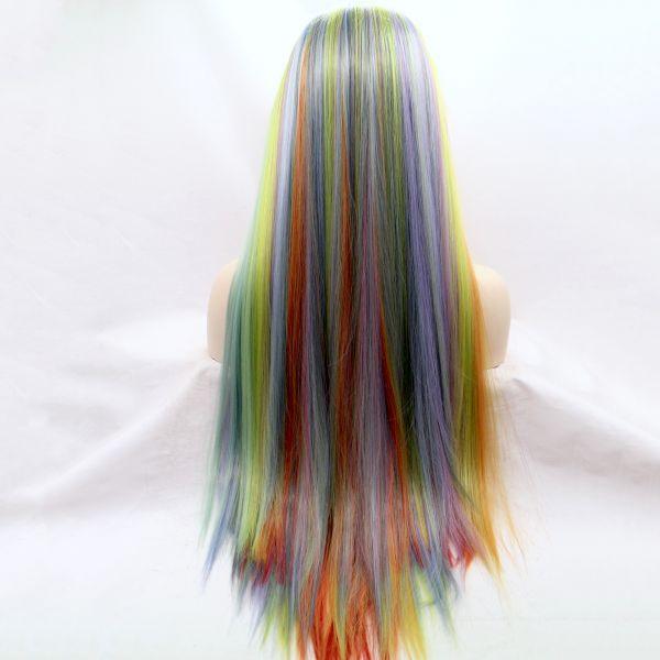Длинный разноцветный парик на сетке