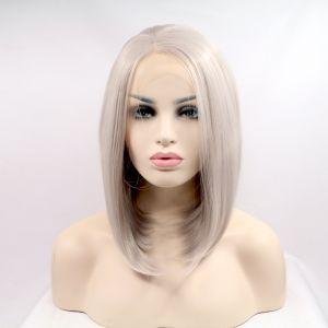 Парик каре платиновый блонд женский короткий прямой на сетке из термоволос