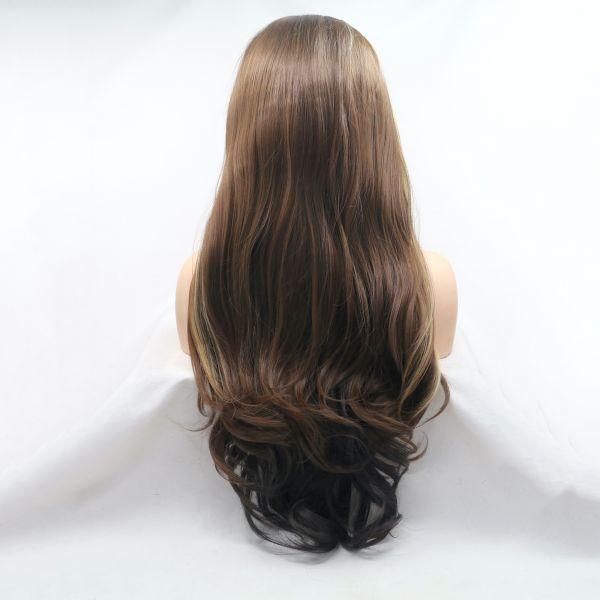 Длинный коричневый парик на сеточке со светлыми прядями