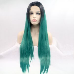 Прямой длинный зеленый парик с омбре - СВЕЖИЕ ПОСТУПЛЕНИЯ!