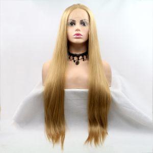 Парик карамельный блонд женский длинный прямой на сетке из термоволос