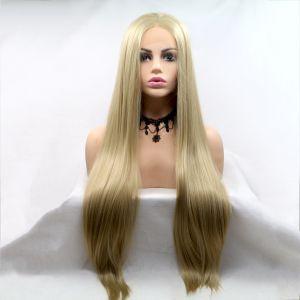 Парик холодный бежевый блонд женский длинный прямой на сетке из термоволос