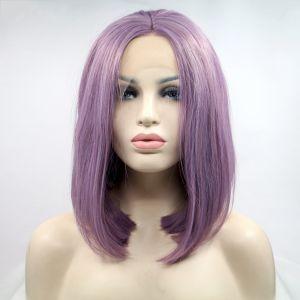 Парик каре фиолетовый женский короткий прямой на сетке из термоволос