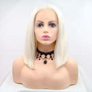 Парик каре белый блонд женский короткий прямой на сетке из термоволос
