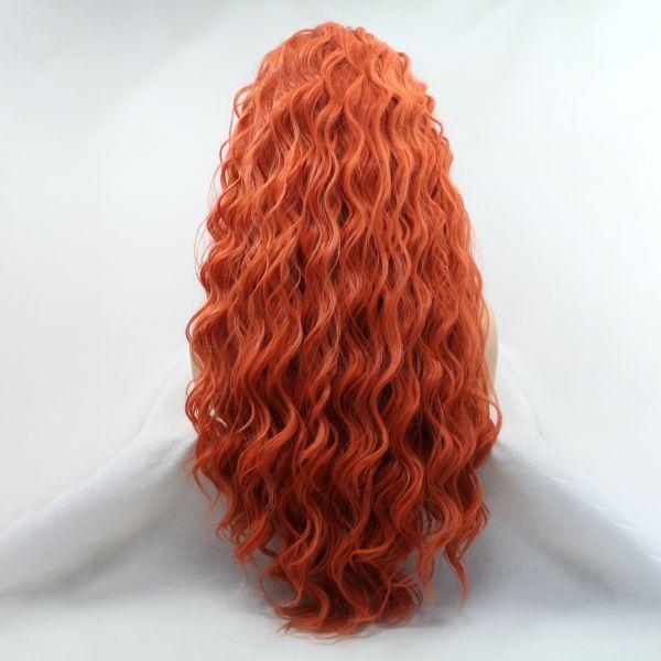 Парик рыжий женский длинный кучерявый на сетке из термоволос. Артикул: IXI58898