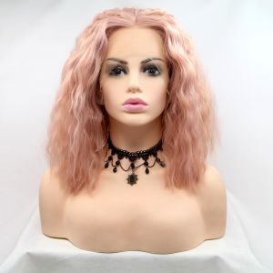Парик каре пастельно розовый женский короткий кучерявый на сетке из термоволос