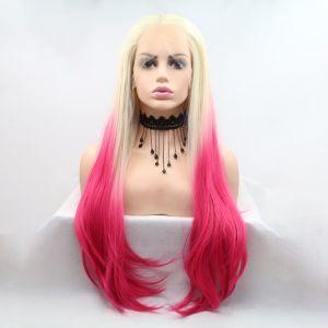 Парик белый блонд с розовыми концами женский длинный прямой на сетке из термоволос