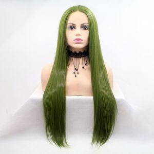Парик зеленый женский длинный прямой на сетке из термоволос