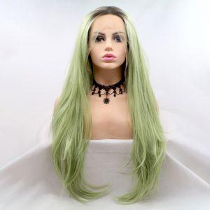 Парик оливково зеленый женский длинный волнистый на сетке с омбре из термоволос