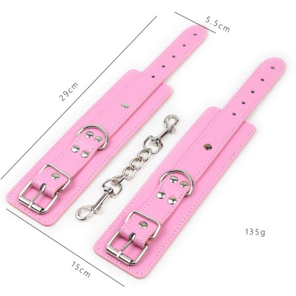 Pink red multi-studded tied handcuffs