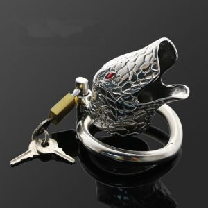 stainless steel latest silvery ophicephalous chastity device