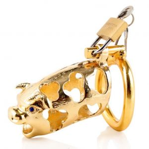 metal ox head chastity device golden