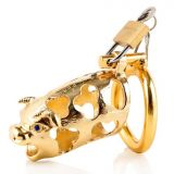 БДСМ - metal ox head chastity device golden