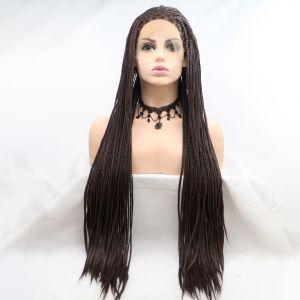 Парик холодный коричневый афрокосы женский длинный на сетке из термоволос