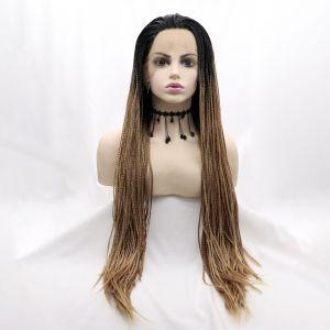 Парик карамельный блонд афрокосы женский длинный на сетке с черным омбре из термоволос