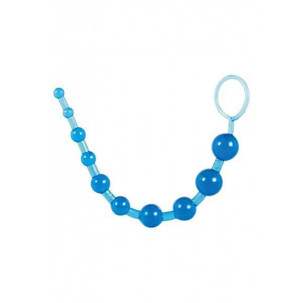 Анальные шарики на жесткой связке синего цвета
